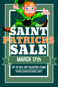 St Patricks Day Retail Sale Poster Flyer template