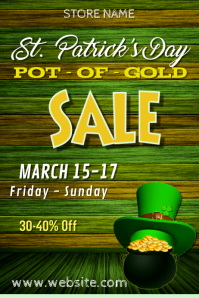St Patricks Day Sale Poster template