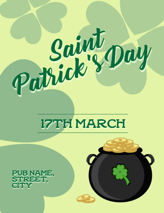 St patricks Folder (US Letter) template