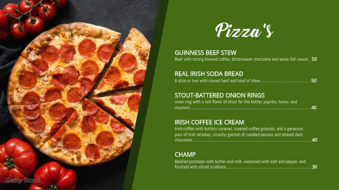 Pizza menu Digitalt display (16:9) template