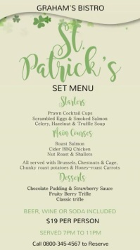 St Patricks Menu Video Template