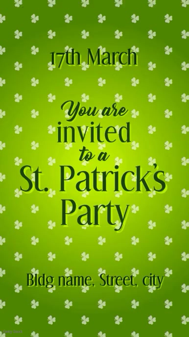 St Patricks party invite