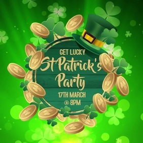 St Patricks Party Night Video Template Square (1:1)