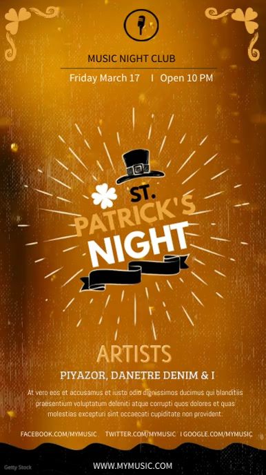 St Patty's Day Bar Event Digital Display Ad
