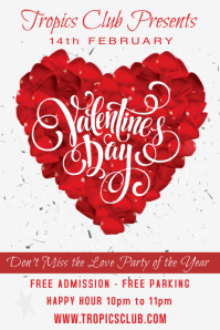 St Valentines Day Party Event Flyer Poster Template