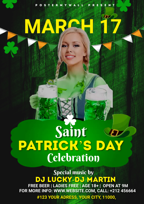 St. Patrick's Day Bar Flyer A4 template