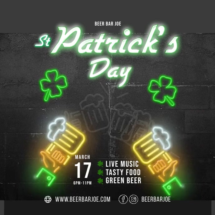 St. Patrick's Day Isikwele (1:1) template