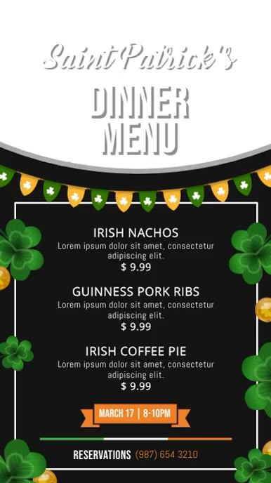 St. Patrick's Day Dinner Menu Digital Display Portrait Vide Affichage numérique (9:16) template