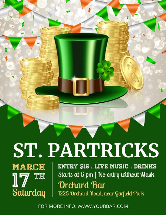 St. Patrick's Day flyer, Saint Patrick Folheto (US Letter) template