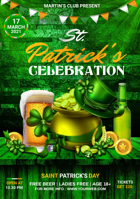 St. Patrick's Day Flyer A4 template