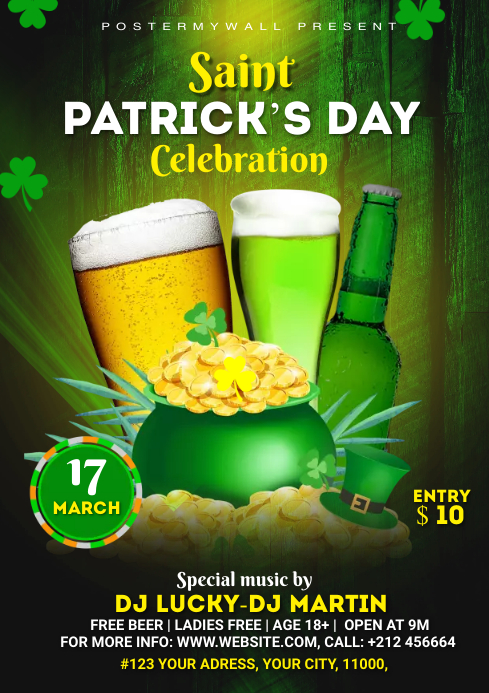 St. Patrick's Day Flyer Template A4