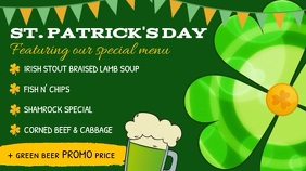 St. Patrick's Day Green Menu Landscape Digital Display Video งานแสดงผลงานแบบดิจิทัล (16:9) template