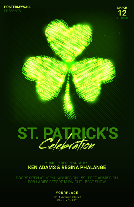 st. patrick's day party flyer Tabloïd template