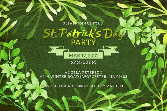 St. Patrick's Day Party Invitation Etiket template