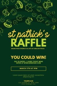st. patrick's day raffle Flyer Template โปสเตอร์