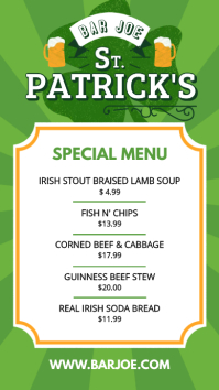 St. Patrick's Day Special Menu Pantalla Digital (9:16) template