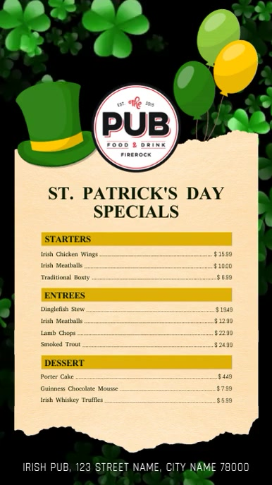 St. Patrick's Day Specials Menu Digital Display Video