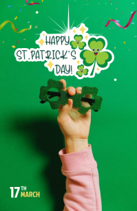 St. Patrick's Day Wishes Wide Setengah Halaman template
