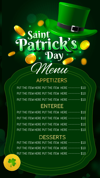 St. Patrick's day dinner menu digital displ Digitale display (9:16) template