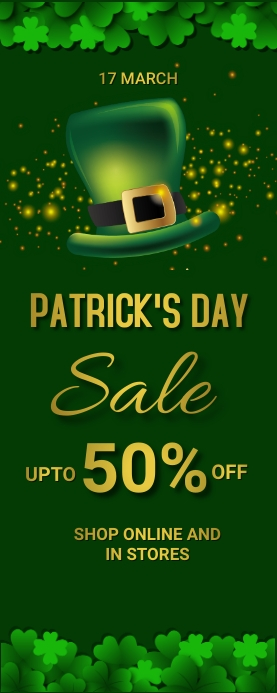St.Patrick.Patricks, event, party Cartel enrollable de 2 × 5 pulg. template