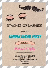 Staches or lashes gender reveal card