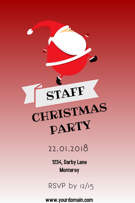 Staff Christmas Party Invite Template Postermywall