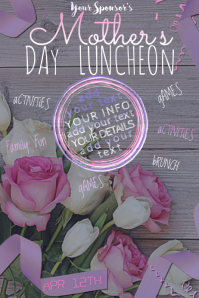 Stamp Mother Day Mom Pink Purple Roses White Wood Brunch