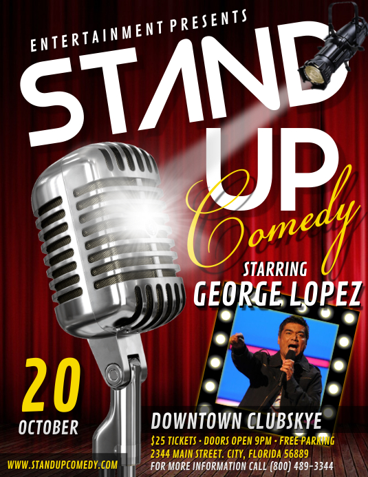 Stand Up Comedy Flyer (format US Letter) template