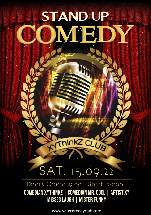 Stand up Comedy Event Flyer Poster Template Golden A4