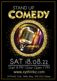 Stand up Comedy Event Flyer Poster Template Golden