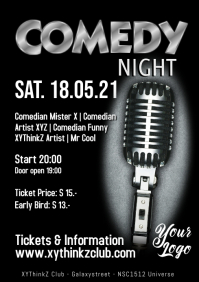 Stand up Comedy Event Flyer Poster Template Microphone A4