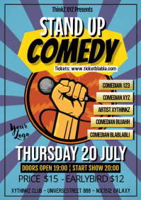 Stand up Comedy Event Retro Poster Flyer A4 template