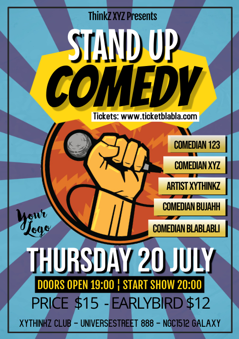 stand up comedy event retro poster flyer template