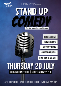 Stand up Comedy Event Show Microphone Ad A4 template