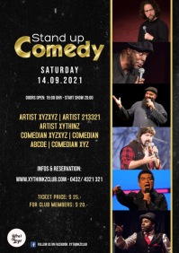 Stand up comedy event Show Night Flyer Mixed A4 template