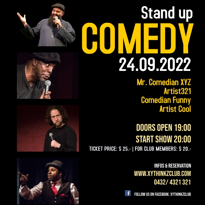 Stand Up Comedy Event Square Size Post Social Media Template Postermywall