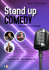 Stand up Comedy Flyer Invitation Event Ad A4 template