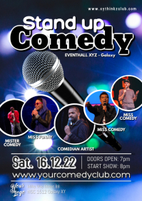 Stand up Comedy Flyer Poster Artist Comedian A4 template