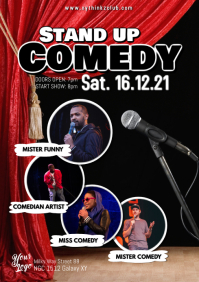Stand up Comedy Flyer Poster Microphone Artists Comedians A4 template