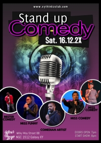 Stand up Comedy Flyer Poster Microphone Artists Comedians