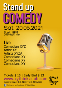 Stand up Comedy Flyer Poster Template A4