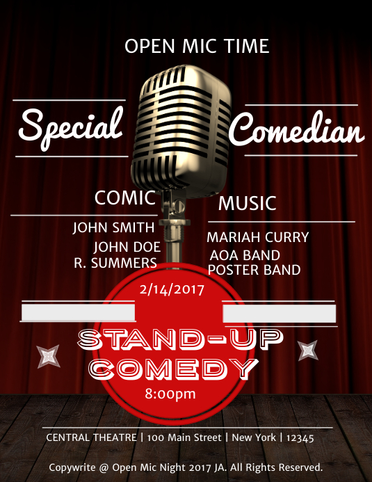 Stand Up Comedy Poster Template | PosterMyWall