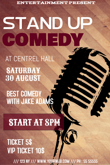 Stand up comedy flyer template Poster