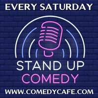Stand Up Comedy Neon Template Persegi (1:1)
