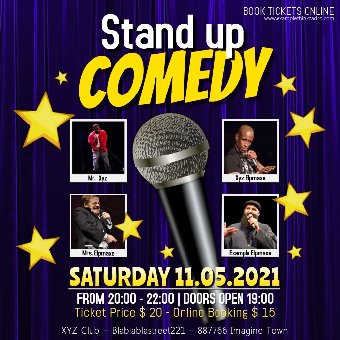 Stand up Comedy Night Event Social Media Instagram-opslag template
