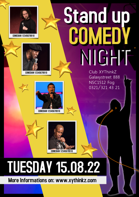 Stand up Comedy Night Flyer Poster Template A4