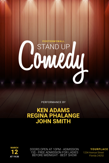 stand up comedy night flyer template Affiche