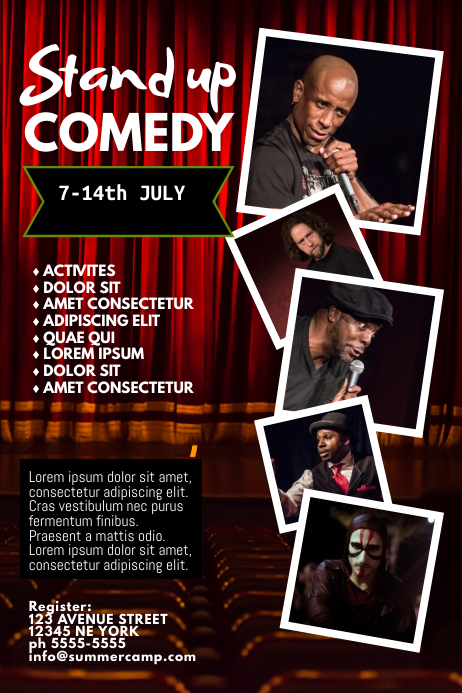 stand up comedy night flyer template 海报