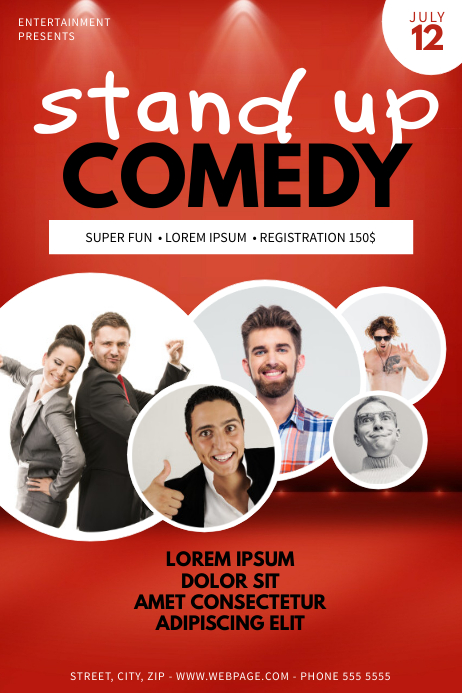 stand up comedy night flyer template Póster