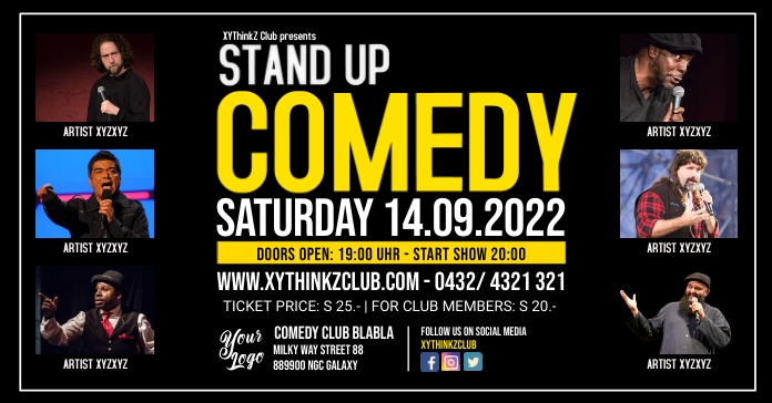 Stand up Comedy Night Show Add Template Facebook-annonce
